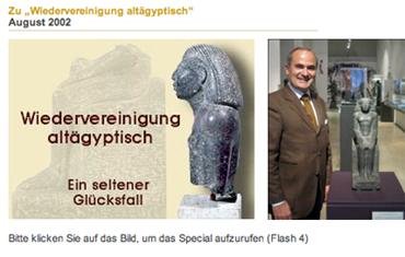 Bertrand Khawam au côté de la statue SESCHEN-SA-HATHOR Moyen Empire - Munich